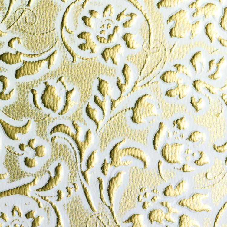 Панель искусственная кожа sibu floral white/gold mat с клеем.